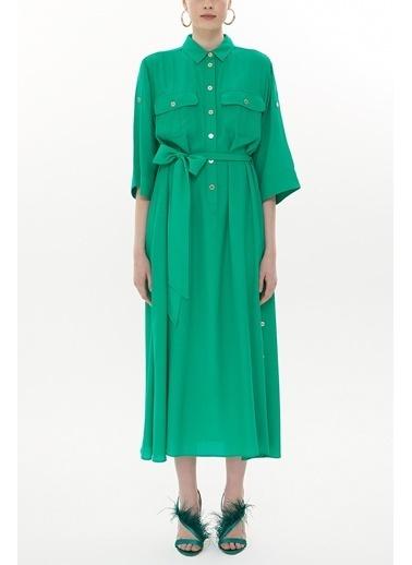 Societa Düğme detaylı bol kesim uzun elbise 93372 Yeşil